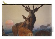 A Stag With Deer In A Wooded Landscape At Sunset Carry-all Pouch