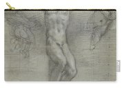 A Study Of Christ On The Cross With Two Carry-all Pouch