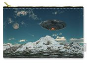 A Ufo Flying Over A Mountain Range Carry-all Pouch
