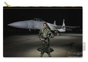 A U.s. Air Force Pilot Stands In Front Carry-all Pouch