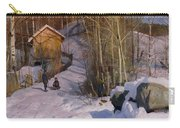 A Winter Landscape With Children Sledging Carry-all Pouch by Peder Monsted