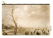 A Winter Landscape With Townsfolk Skating And Playing Kolf On A Frozen River Carry-all Pouch by Aert van der Neer
