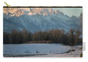 A Winter Scene Of A Snowy Field, Fence Carry-all Pouch