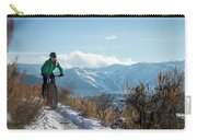 A Woman Fat Biking On The Trails Carry-all Pouch