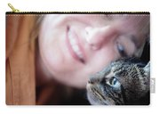 A Woman Lovingly Looking At Her Cat Carry-all Pouch