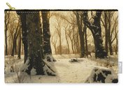 A Wooded Winter Landscape With Deer Carry-all Pouch by Peder Monsted