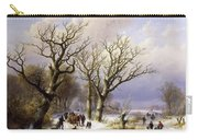 A Wooded Winter Landscape With Figures Carry-all Pouch