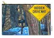 A Yellow Diamond Sign With The Words Hidden Driveway On The Side  Carry-all Pouch