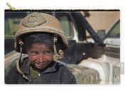 A Young Boy Wears A Coalition Force Carry-all Pouch
