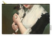 A Young Lady With Two Dogs Carry-all Pouch