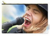 A Young Man Sings To A Microphone Carry-all Pouch