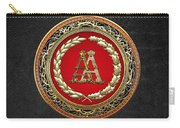 Aa Initials - Gold Antique Monogram On Black Leather Carry-all Pouch