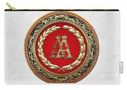 Aa Initials - Gold Antique Monogram On White Leather Carry-all Pouch