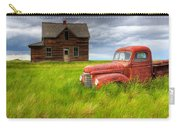 Abandoned Homestead House And Red Carry-all Pouch