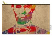 Abraham Lincoln Watercolor Portrait On Worn Distressed Canvas Carry-all Pouch by Design Turnpike