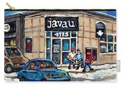 Montreal Art Exhibit At Java U Carole Spandau Montreal Street Scenes Paintings Hockey Art  Carry-all Pouch