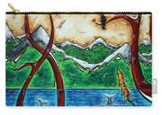 Abstract Art Original Alaskan Wilderness Landscape Painting Land Of The Free By Madart Carry-all Pouch by Megan Duncanson
