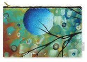 Abstract Art Original Landscape Painting Colorful Circles Morning Blues I By Madart Carry-all Pouch