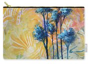 Abstract Art Original Landscape Painting Contemporary Design Blue Trees II By Madart Carry-all Pouch