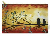 Abstract Bird Landscape Tree Blossoms Original Painting Family Of Three Carry-all Pouch