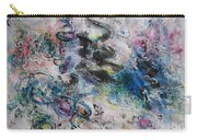 Abstract Flower Field Painting Blue Pink Green Purple Black Landscape Painting Modern Acrylic Pastel Carry-all Pouch