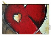 Abstract Heart Original Painting Valentines Day Heart Beat By Madart Carry-all Pouch
