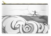 Abstract Landscape Art Black And White Yoga Zen Pose Between The Lines By Romi Carry-all Pouch