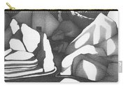 Abstract Landscape Rock Art Black And White By Romi Carry-all Pouch