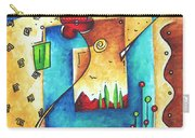 Abstract Pop Art Landscape Floral Original Painting Joyful World By Madart Carry-all Pouch