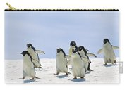 Adelie Penguin Group Running Antarctica Carry-all Pouch