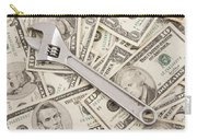 Adjustable Wrench On Pile Of Money Carry-all Pouch