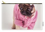 Adorable Pug Puppy In Pink Bow And Sweater Carry-all Pouch