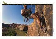 Adventure Racer Rappelling Over A River Carry-all Pouch