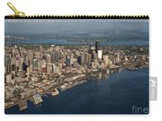 Aerial View Of Seattle Skyline With Elliott Bay And Ferry Boat Carry-all Pouch
