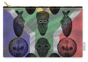 Africa Flag And Tribal Masks Carry-all Pouch