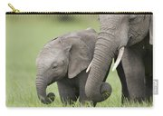 African Elephant Juvenile And Calf Kenya Carry-all Pouch