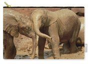 African Elephant Orphans Playing In Mud Carry-all Pouch
