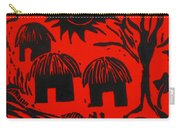 African Huts Red Carry-all Pouch