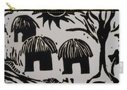 African Huts White Carry-all Pouch by Caroline Street