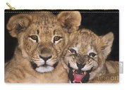 African Lion Cubs One Aint Happy Wldlife Rescue Carry-all Pouch