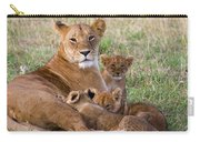 African Lioness And Young Cubs Carry-all Pouch