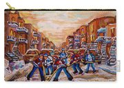 After School Winter Fun Street Hockey Paintings Of Montreal City Scenes Carole Spandau Carry-all Pouch