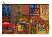 Afternoon Stroll French Bistro Sidewalk Cafe Colors Of Montreal Flags And Umbrellas City Scene Art Carry-all Pouch