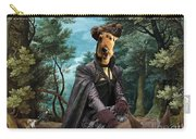 Airedale Terrier Art Canvas Print - Forest Landscape With Deer Hunting And Noble Lady Carry-all Pouch
