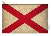Alabama State Flag Art On Worn Canvas Carry-all Pouch by Design Turnpike