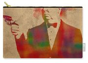 Alfred Hitchcock Watercolor Portrait On Worn Parchment Carry-all Pouch
