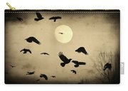 Almost Full Moon And Crows Carry-all Pouch