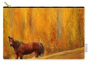 Alone In Grandeur- Bay Horse Paintings Carry-all Pouch