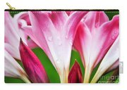 Amaryllis Flowers And Buds In The Rain Carry-all Pouch