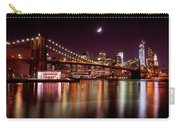 Amazing New York Skyline And Brooklyn Bridge With Moon Rising Carry-all Pouch